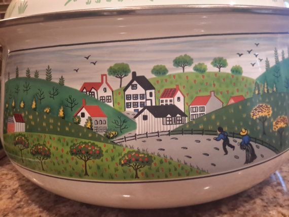Newcor Regency Enameled Cookware 2 Qt and 5 Qt Pot  Mid Century Brass Handle Red Tulip Whimsical Country Scene