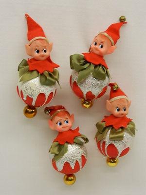Vintage Elf Christmas Tree Ornaments Silver Glitter on Red Satin Balls