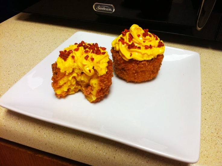 Mac and Cheese Cupcakes: Kraft Mac and Cheese, add bacon, add more ...