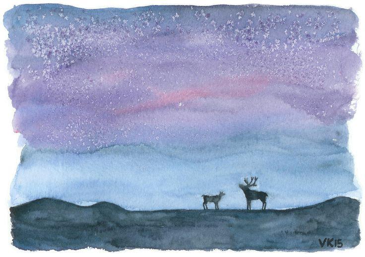 Reindeer Christmas card, printed from a watercolor painting by Virpi Kivinen. #earlymorningwalk #finland #reindeer #lapland #christmas