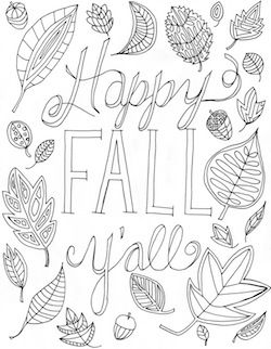 Happy Fall Y'all Coloring Page | Fall coloring pages, Fall ...