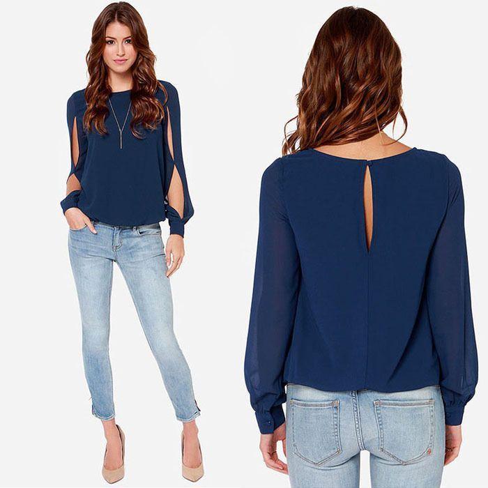 2016 Fashion Women Loose Long Sleeve Chiffon Blouse Summer Shirt Tops