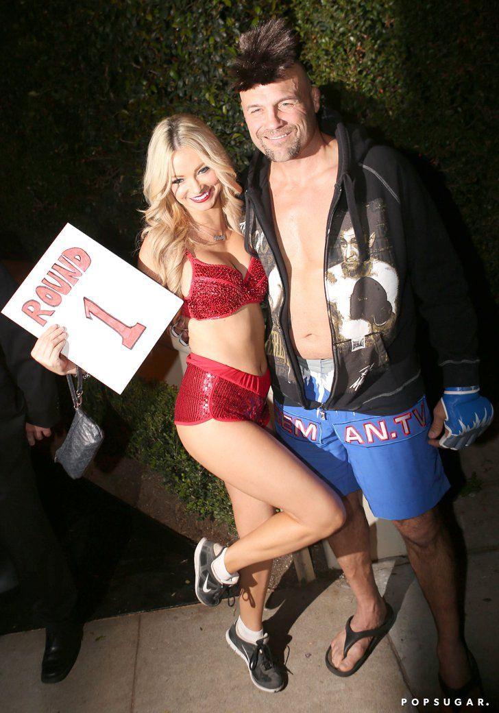 Pin for Later: 55+ Celebrity Couples Halloween Costumes Randy Couture and His Date as a Fighter and a Ring Girl