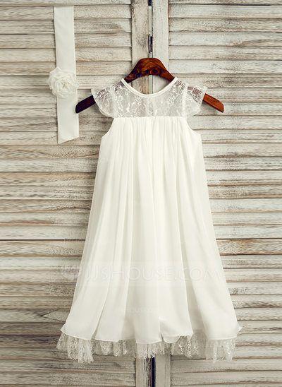 [AU$ 65.00] A-Line/Princess Tea-length Flower Girl Dress - Chiffon Sleeveless Scoop Neck With Lace (010091708)