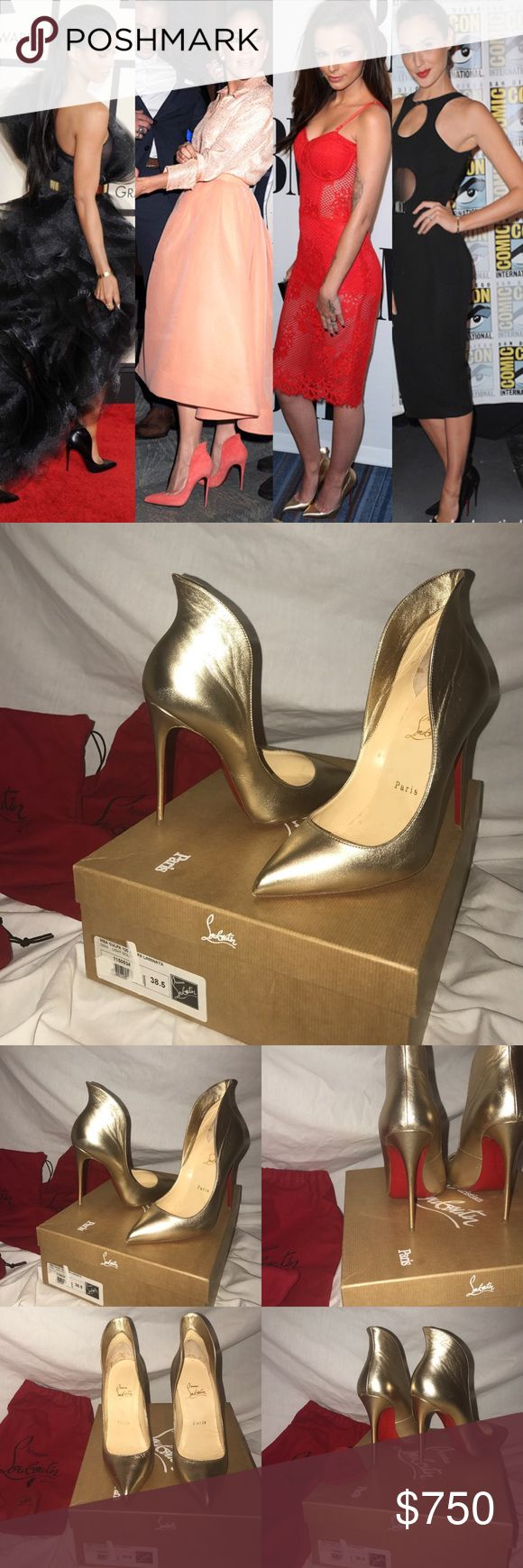 "Christian Louboutin Mea Culpa 120 Gold Pump EU38.5 Christian Louboutin Mea Culpa Laminata 120 mm Gold leather flare pump.  Excellent condition worn once gently. Soles are in great condition ALL OF RED STILL ON SOLES. ***Minor imperfections to leather (not very noticeable due to the metallic look of shoe;view last pic)  •Lovely unique pump. Overall condition: 9/10 •Size: EU 38.5/ US 8. metallic leather pump. 4.7"" covered stiletto heel-120 MM. Pointed with low-dipped vamp. High-cut flared…"