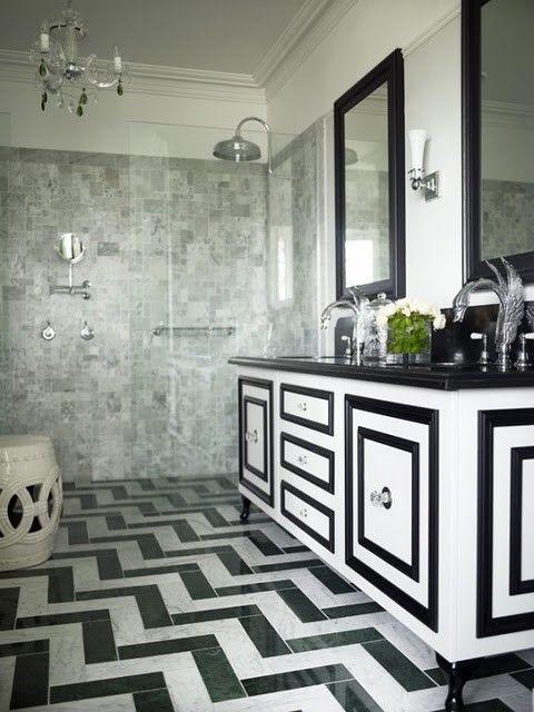 Traditional with a twistBlackandwhite, Black And White, Vanities, Tile, Interiors Design, Black White, White Bathrooms, Chevron Floors, White Cabinets