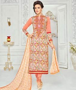 Buy Peach Chanderi Cotton Churidar Suit 72177 online at lowest price from huge collection of salwar kameez at Indianclothstore.com.