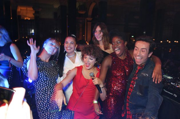 (DAVID M. BENETT VIA GETTY IMAGES) Brit Awards 2018: 30 Celebs Who Let Their Hair Down At The After parties: The Radio 1 crew-No, this isn't a photograph from a boozy evening in Spoons. It's actually Sara Cox, Annie Mac, Alexa Chung, Clara Amfo and Nick Grimshaw - along with singer Mabel and Alexa Chung -  partying at The Ned.