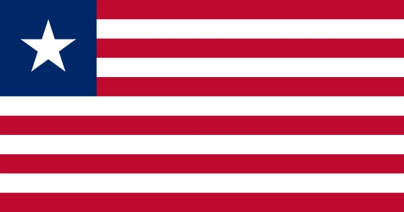 National flag of Liberia from http://www.flagsinformation.com/liberian-country-flag.html  Eleven equal horizontal stripes of red (top and bottom) alternating with white; there is a white five-pointed star on a blue square in the upper hoist-side corner; the design was based on the US flag.