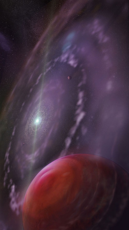 Blick in die Atmosphäre eines Exoplaneten:  Detailreiches Spektrum erlaubt Rückschlüsse auf die Entstehung von Riesenplanten. Abb.: In dieser Darstellung des jungen Planetensystems um den Stern HR 8799 ist der Planet HR 8799c im Vordergrund, dessen Atmosphäre Konopacky und ihre Kollegen untersucht haben. (Bild: U. Toronto / Mediafarm) http://www.pro-physik.de/details/news/4486331/Blick_in_die_Atmosphaere_eines_Exoplaneten.html