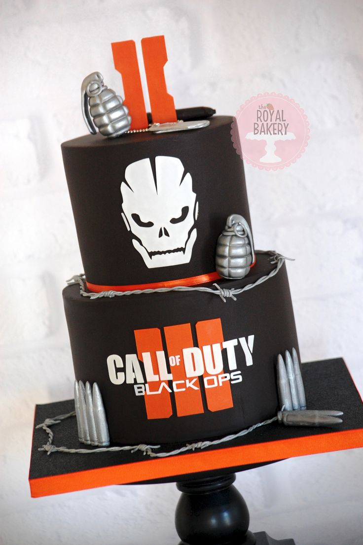 Call of Duty Black Ops III Cake with hand grenades, bullets and barbed wire.