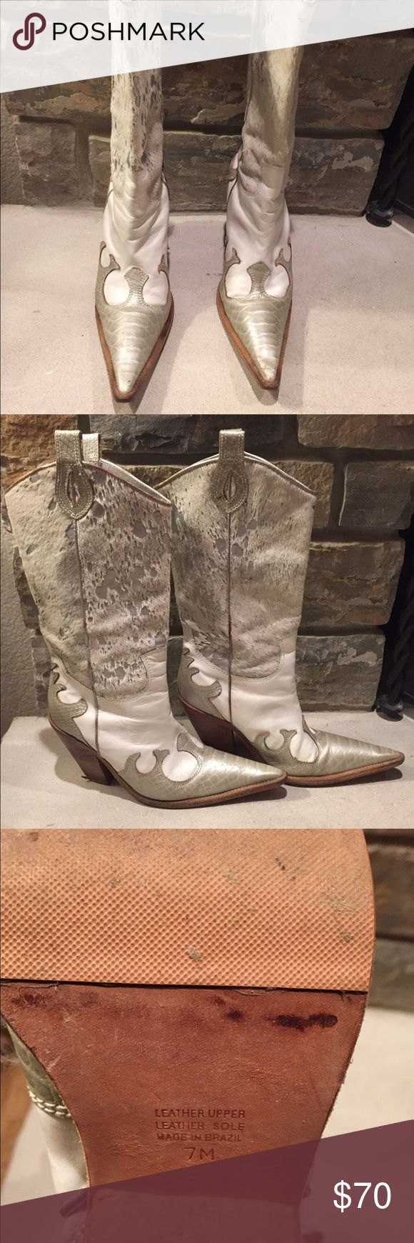 Para Raio Cowgirl Boots Stylish, white and silver cowgirl boots. Genuine leather and made in Brazil. Para Raio Shoes Heeled Boots