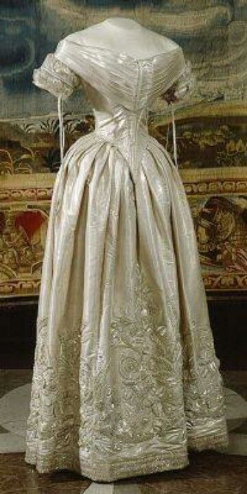 1840 wedding dress. When Queen Victoria married Prince Albert she wore white and it has been a tradition ever since.