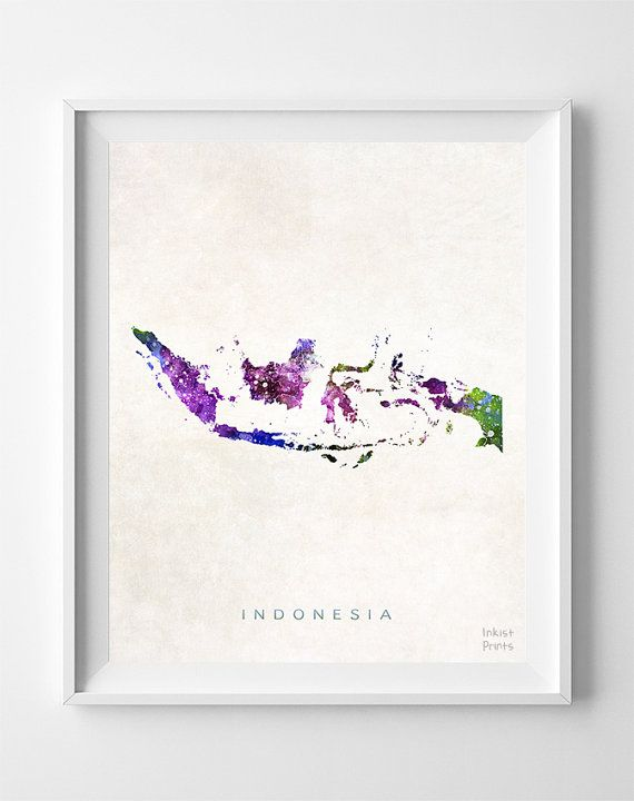 Indonesia Map Asia Print Jakarta Watercolor Home by InkistPrints