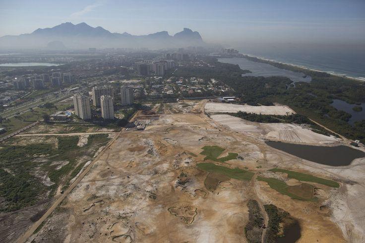 An aerial view of the Rio 2016 Olympic golf course under construction in Rio de Janeiro, Brazil.