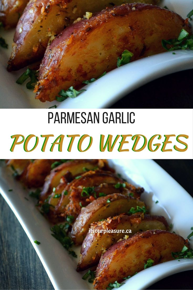 This garlic and Parmesan coated potato wedges are simple and delicious. They are crispy on the outside, fluffy on the inside and seasoned to perfection.