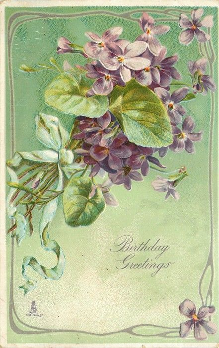 Violets tied with green ribbon, green background, 1907.