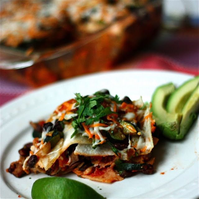... and Cook: Roasted Vegetable Enchilasagna (a.k.a, stacked enchiladas