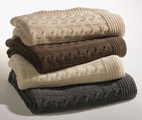 KNITTED Queen Size Winter Bed Blanket Cashmere and wool, with plait, natural color dove grey grey ivory, made in Italy, Free Shipping