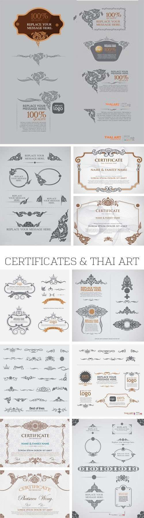 Stock Vector - Certificates & Thai Art, 25xEPS