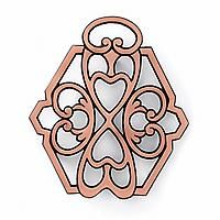 """#2946 Round-Up from the Heart® 2011 Trivet - $13.00 Round-Up from the Heart® 2011 Trivet     Display this beautiful copper-plated trivet as a decorative accent or use it to stylishly protect tables and countertops. The durable cast iron design provides sturdy support, while a copper finish adds a touch of elegance. Synthetic rubber feet protect surfaces from scratches. 7"""" x 6"""".    For each trivet purchased, we donate $2 to Feeding America®, the largest domestic hunger relief organization in…"""