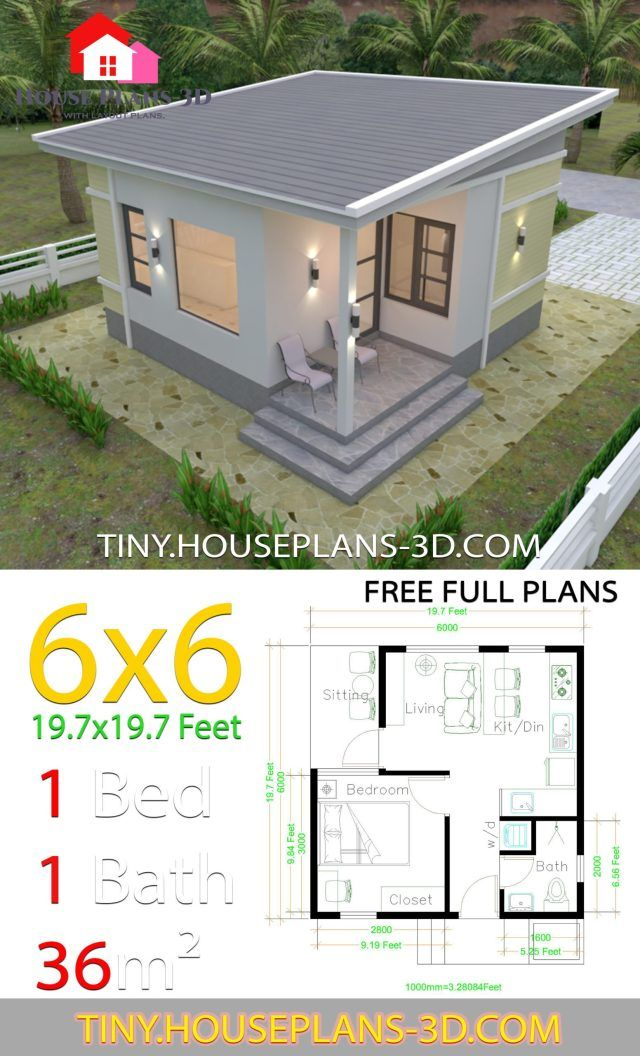 One Bedroom House Plans 6x6 With Shed Roof Tiny House Plans In 2020 One Bedroom House Plans One Bedroom House Tiny House Design