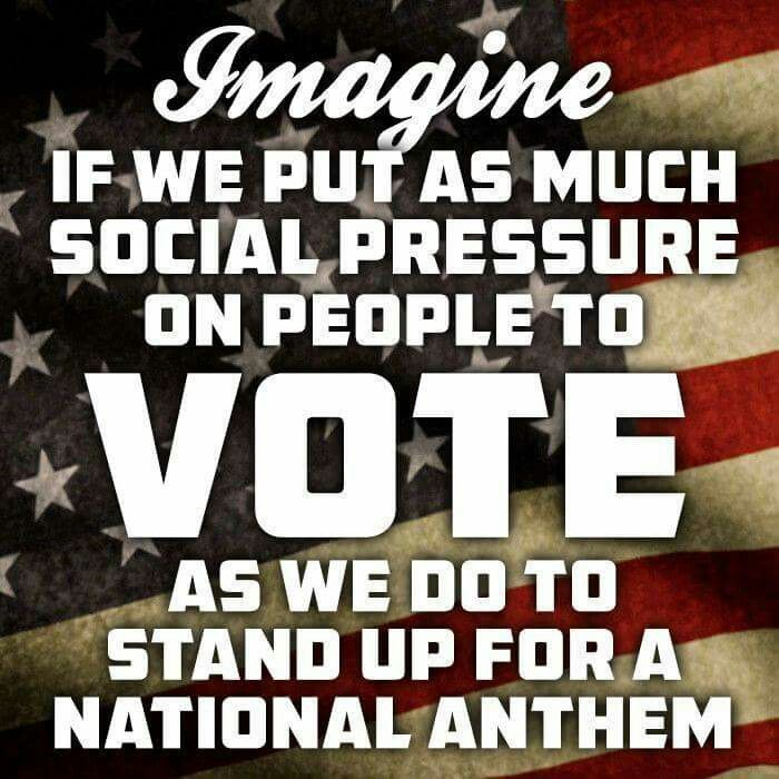 """I keep hearing people talk about supporting our troops, """"support the troops!"""" Only 9% of Americans showed up to vote in the primaries.  Here's an idea, how about showing up for what our troops have fought and died for, our right to vote.  We're no longer a democracy because we dropped the ball and failed to show up but we can fix that by voting for the only candidate who isn't beating the war drums, Jill Stein."""