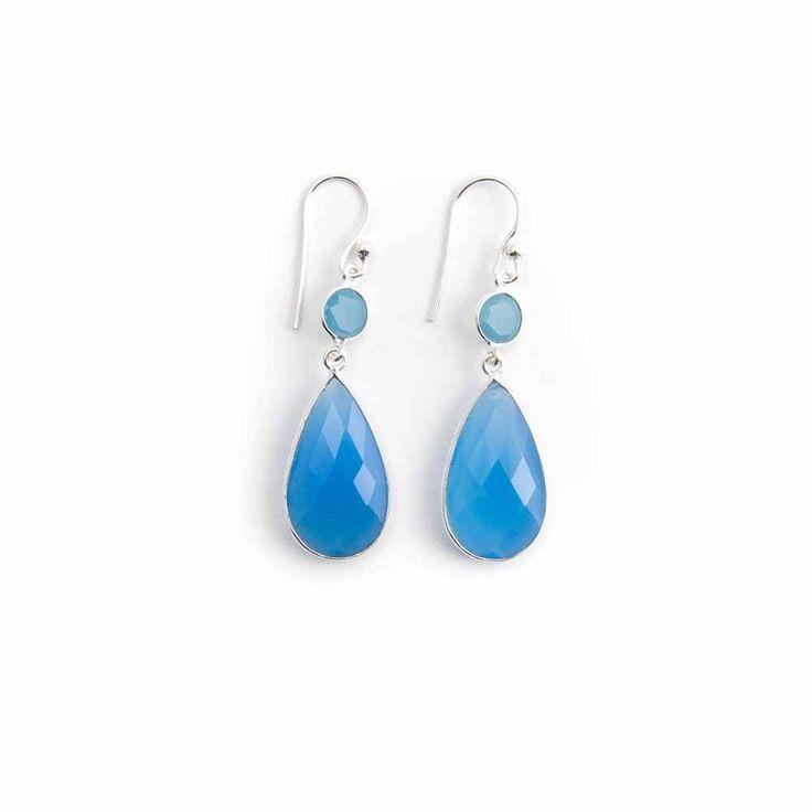 Dubbele blauwe oorbellen met chalcedoon in sterling zilver