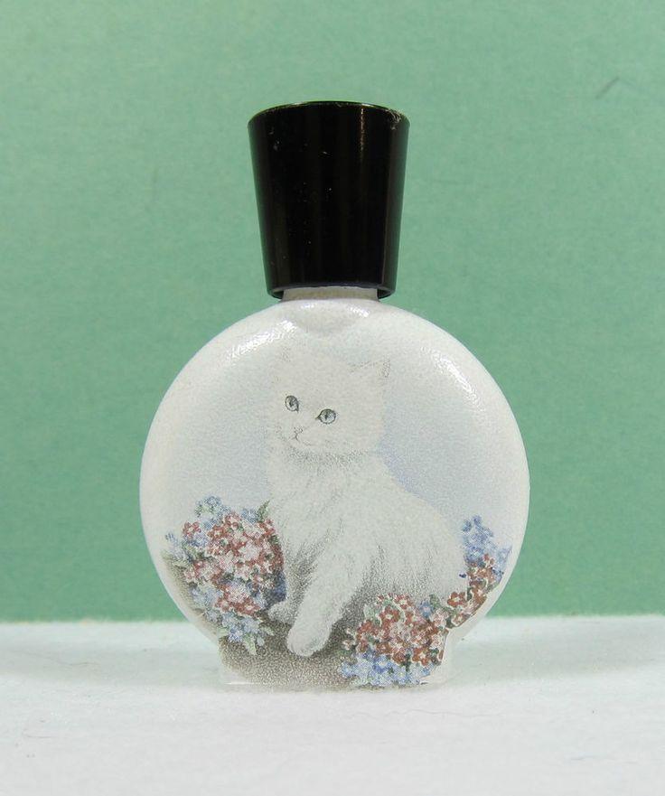 Adorable White Blue Eyed Kitten Flower Garden Perfume Bottle