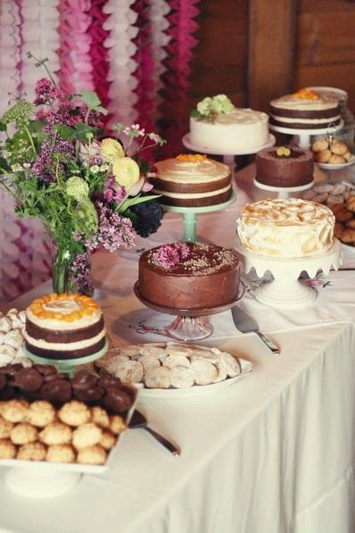 multi cake table simple wedding