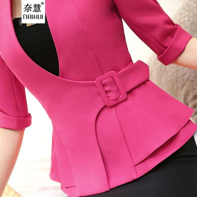 Moda Jaqueta Desgaste do Trabalho Meia Manga Com Decote Em V Casaco Blazer Feminino Da Menina plus size roupas femininas ladies Vogue casual escritório topo