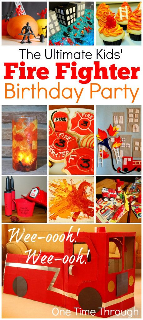 Ultimate Kid' FireFighter Birthday Party: Part 1 of 4. Includes how to make an awesome DIY Cardboard Firetruck for pretend play {One Time Through}