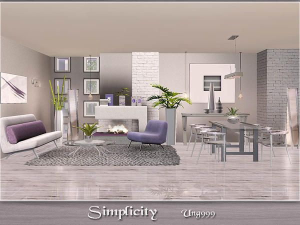 Simplicity modern living and dining room set by ung999 for Modern living room sims 4