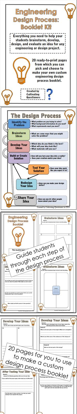 Engineering Design Process: Guided Booklet. This kit contains 20 pages designed to guide students through each step in the engineering design process. You can pick and choose from the pages to create your own booklet suitable for any STEM design challenge.