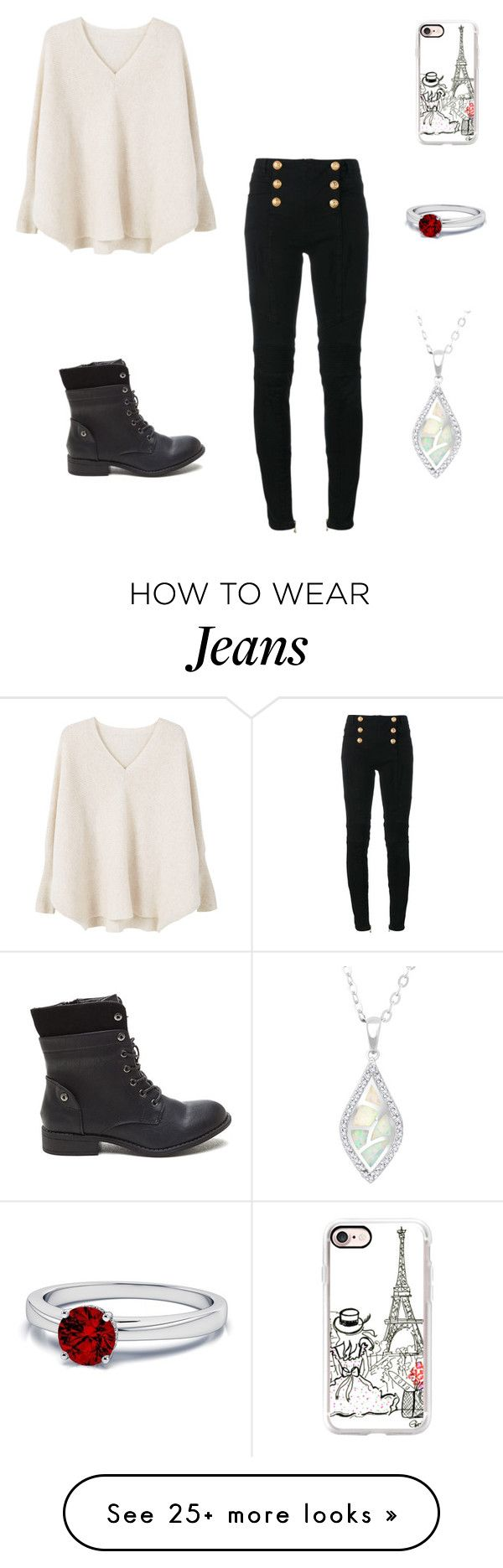 """High waisted black jeans"" by yyyyyx on Polyvore featuring Casetify, La Preciosa, MANGO and Balmain"