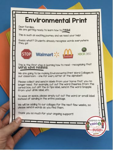 FREE Environmental Print activities and lesson plans – kindergarten reading acti…  – First Day Of School