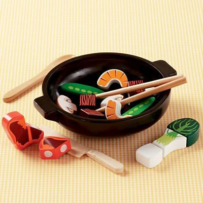 """Wok and Roll Stir Fry Set - Land of Nod (My daughter has this! Very fun, the food has velco so you can """"slice"""" it and it sticks to the chop sticks)"""