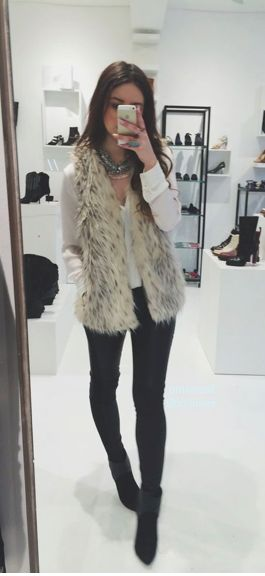 white + black + fur. Fur vest. Black leggings. Liquid leggings. Black booties. Boots. White long sleeve shirt. Statement necklace. Winter fashion. Fall fashion.street style. Casual. Night out. Holiday outfit. 2016. New Years. Christmas. Bars. Date night. Out to dinner. Movies