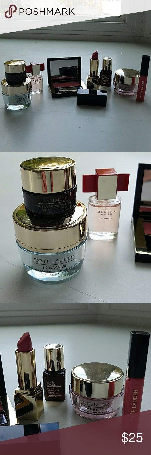 Estee Lauder makeup set Estee Lauder Day wear, advanced night repair eyes, advanced night repair, resilence lift, pure color lipstick full size color is Powerful, small bottle of Modern Muse, Pink Kiss Blush, and suggestive Kiss Lip gloss. Estee Lauder Other