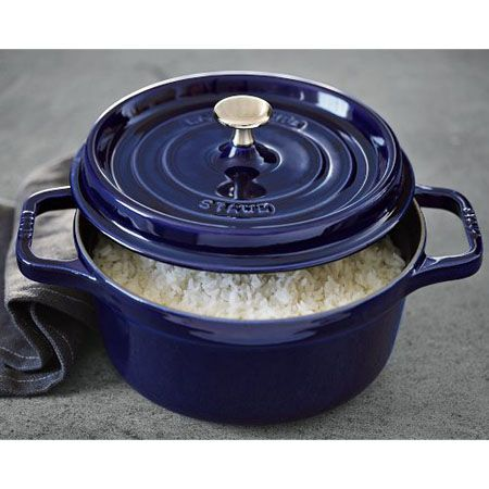 staub round cocotte dark blue 25qt great for cooking rice - Staub Dutch Oven