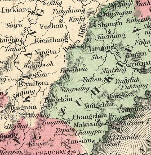 Old Map of China 1865 Asia Antique map This is a reproduction vintage map. The Map is approximately 18,0 x 24,0 inches. The map is printed on fine paper 270gsm The frame is not included. This page will be carefully inserted into a solid tube. The sleeve will be shipped in a tube to