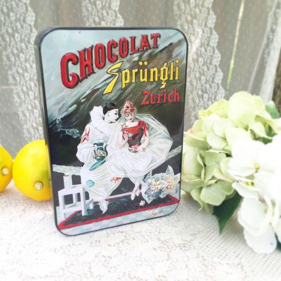 Ballerina & Pierrot Clown Chocolate Sprungli Zurich Tin Box, Mime, Swiss…
