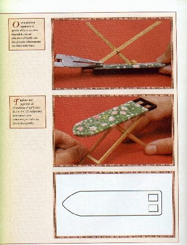 Miniature ironing board tutorial - for dollhouse - illustrated instructions in Italian | L'Asse da Stiro