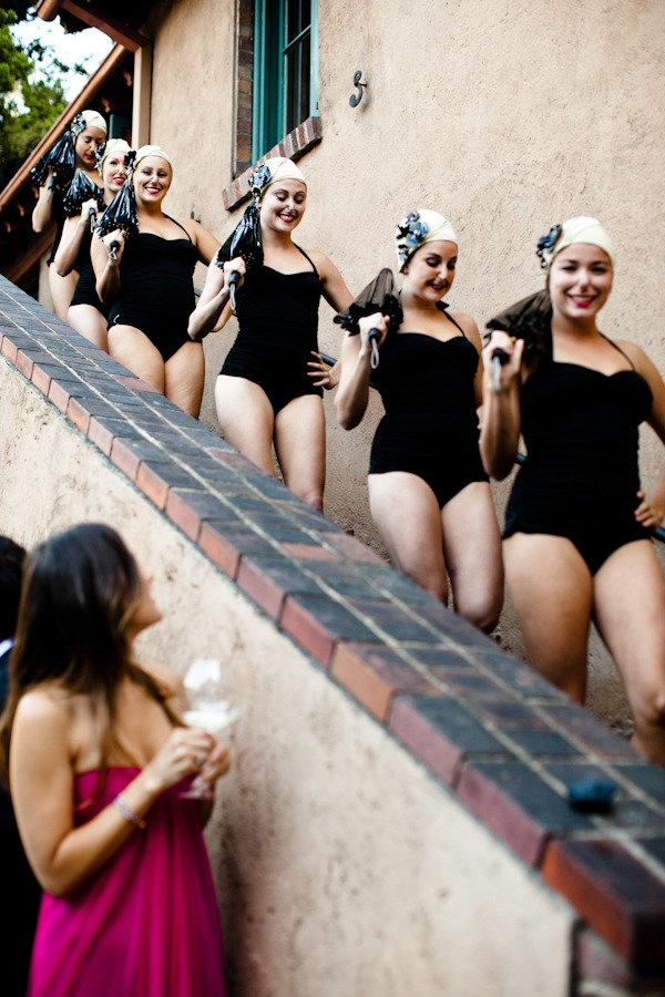 What to do ~ what to do ~ with the pool at your 1940's inspired wedding? Find a synchronized swimming group like these lovely ladies  to entertain!  Water Ballet: Aqualillies ;)