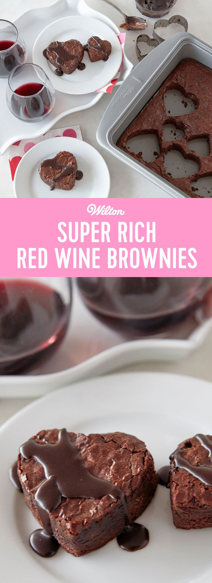 Create a decadent Valentine's Day dessert with these Super Rich Red Wine Brownies. Made using Dark Cocoa Candy Melts candy and your favorite cabernet sauvignon wine, these dark and rich brownies are the perfect dessert for Valentine's Day or an anniversary. Top your brownies with a chocolate wine glaze and serve alongside a glass of your favorite red wine for a tasty ending to any romantic dinner. #wiltoncakes #valentinesday #valentinesdaydesserts #valentines #brownies #redwine #recipes…