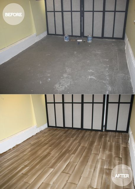 faux wood floors. great idea for a cement-floored basement.