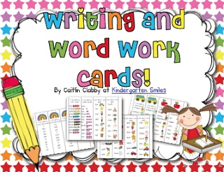 Free Monthly Writing/Word Work Cards--January words are here!