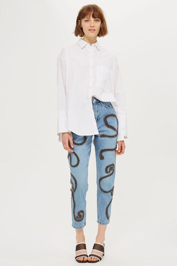 Limited Edition MOTO Rope Embellished Mom Jeans - Topshop