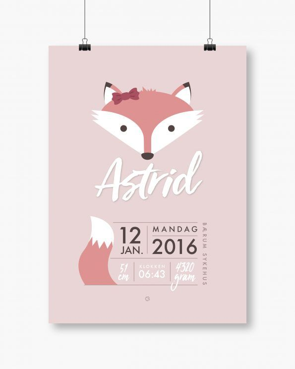 Minimalistisk feminin fødsesplakat med rev #minimals #enkontrast #enkontrastposter #birthposter #fødselsplakat #fødselstavle #fox #pinkfox
