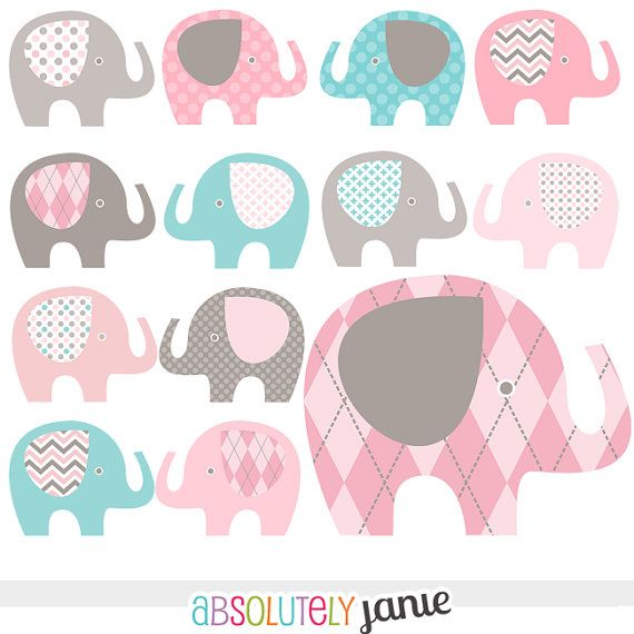Pink Grey Teal Blue Baby Elephant Digital Clipart - Girly Clip Art